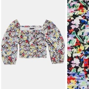 Zara printed flounce crop top